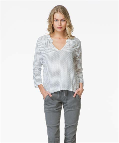 25507 Basic Soft Stripe Blouse Velvet Tamra Cotton Blouse Stripe Tamra Str Stripe