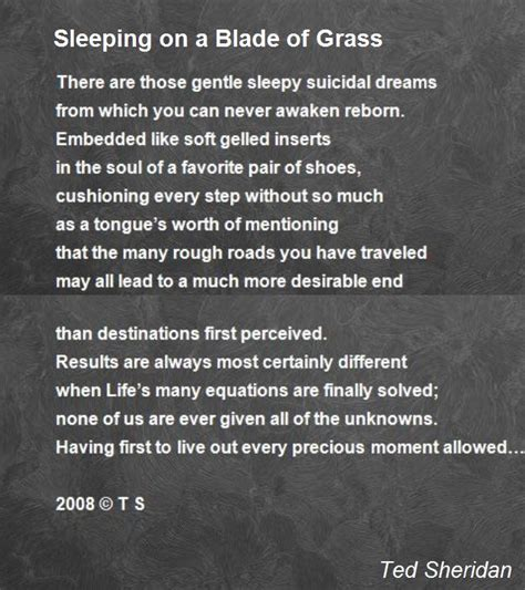 Sleeping On A by Sleeping On A Blade Of Grass Poem By Ted Poem