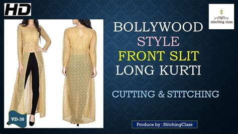 plazo cutting step by step in hindi front slit long kurti diy cutting stitching youtube