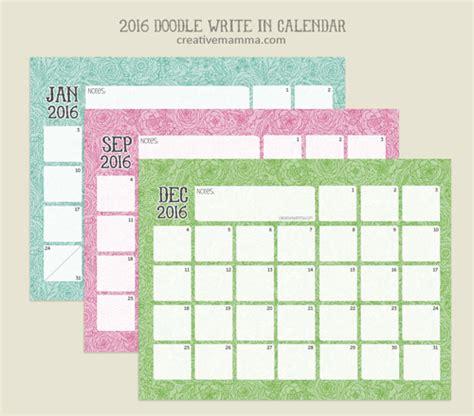 Doodle Calendario Creative Mamma 187 Free Printable 2016 Doodle Write In Calendar