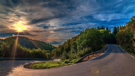 wallpaper  sunset serpentine road full