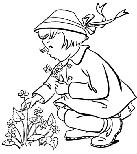 coloring pages flower girl little girl coloring pages for girls free printable