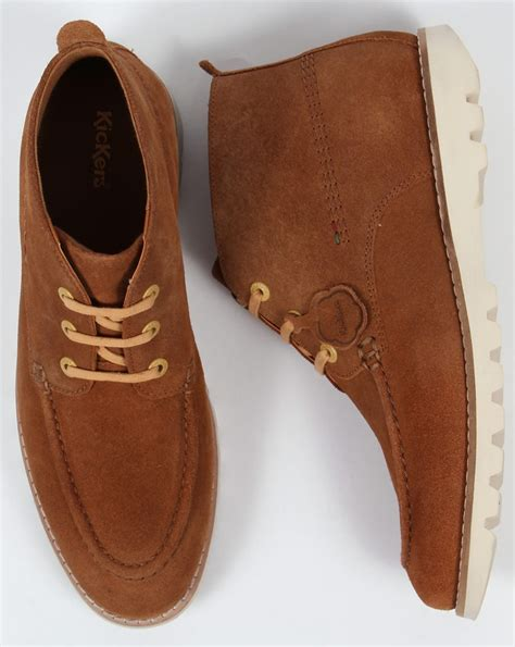 Kickers Moccasin Suede by Kickers Kymbo Moccasins Suede Light Brown Boots Shoe Mens