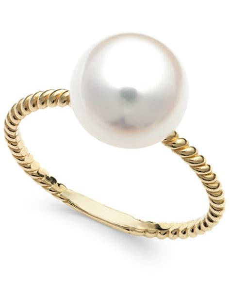 de mer cultured freshwater pearl ring in 14k gold