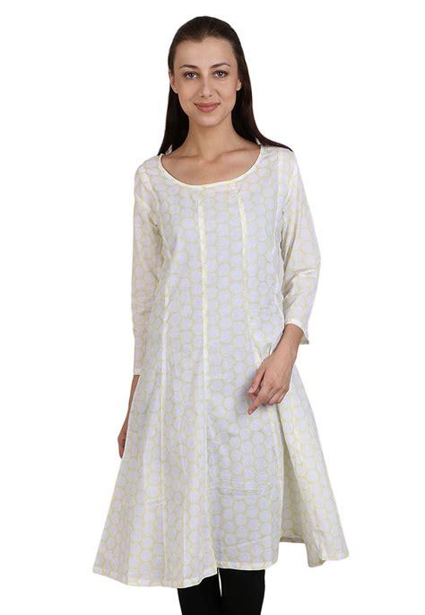 printed trim cotton kurta in printed cotton kurta in white tdr963