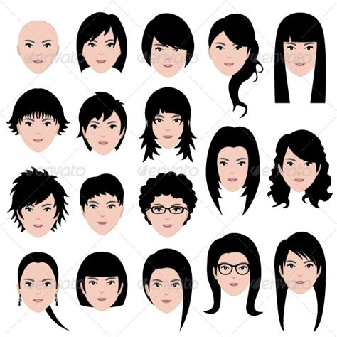 hairstyles for different head shapes female hairstyle graphicriver
