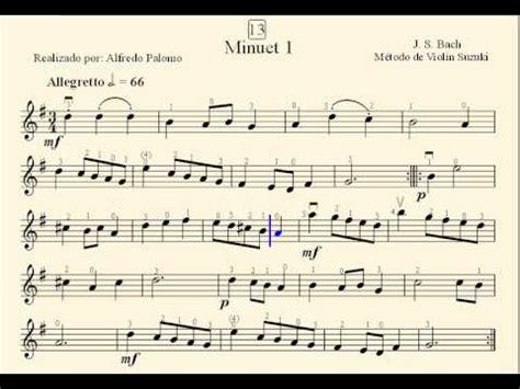 Minuet 1 Violin Suzuki Partitura Minuet 1 N 186 13 De J S Bach M 233 Todo De Viol 237 N