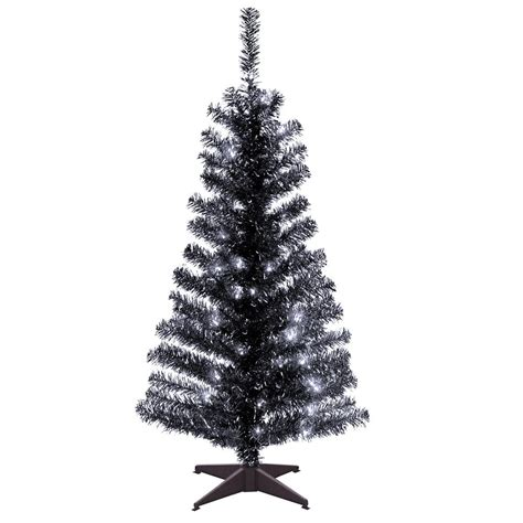 national tree company 4 ft black tinsel artificial