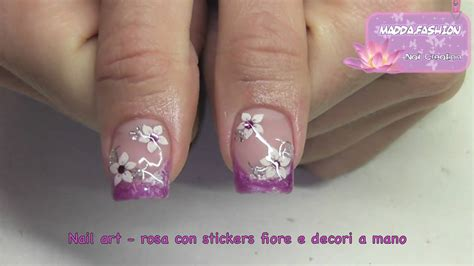 tutorial nail art bahasa indonesia nail art french rosa con stickers fiori e decori a ma