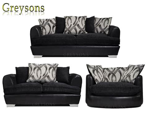 molly  piece suite   seater corner sofa settee black chenille fabric ebay