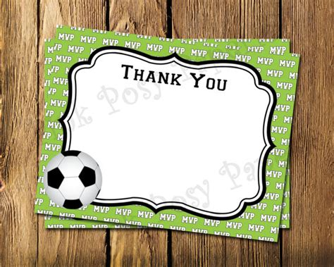 Free Printable Soccer Thank You Cards