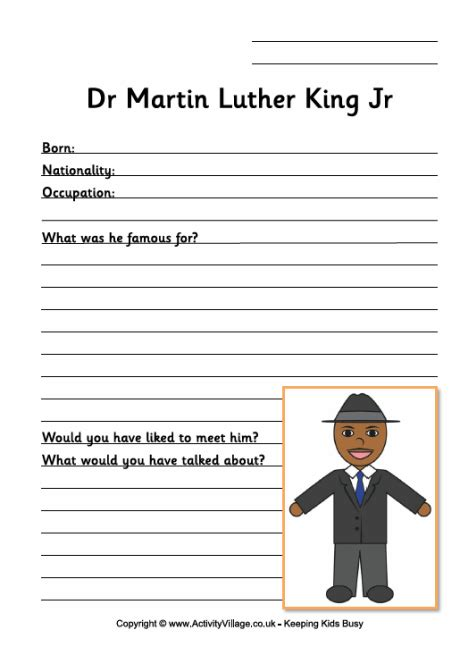 martin luther king worksheet for younger children second