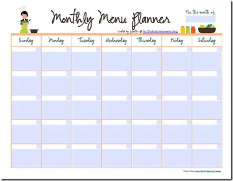 monthly meal planner also a pdf file that you can edit