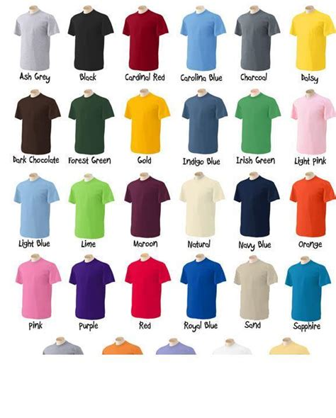 Color Tshirt gilde tshirt colors jpg from t shirt printing in honolulu