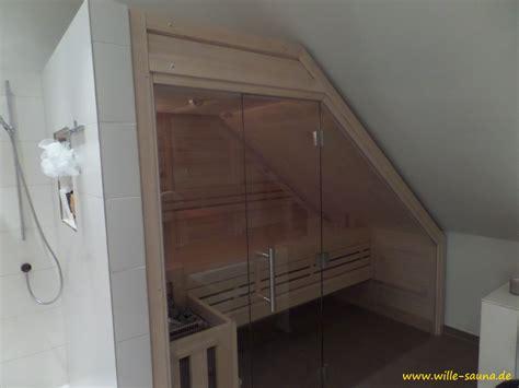 Sauna Mit Glas by Sauna Dachschr 228 Ge Wille Sauna De