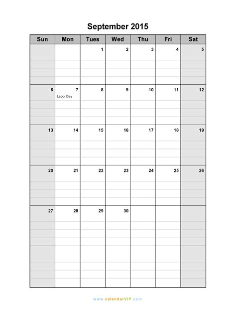 Blank Calendar For September 2015 September 2015 Calendar Blank Printable Calendar