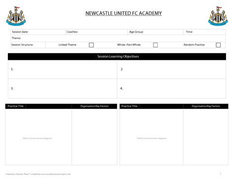 session plan template for customisation services academy soccer coach asc