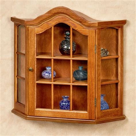 Oak Wall Display Cabinet by Andre Wooden Wall Curio Cabinet