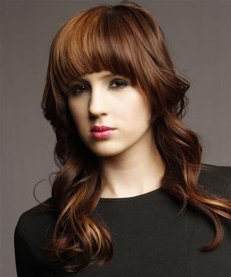 heavy formal hair styles long wavy formal emo hairstyle with blunt cut bangs dark