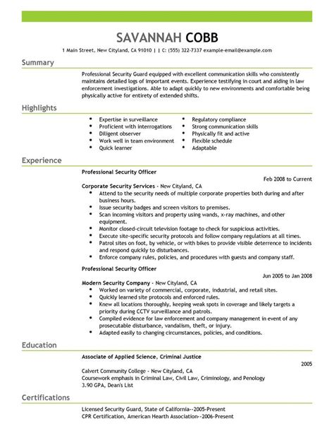 security guard resume skills exles resume ixiplay