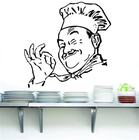Chef Wall Decor by Chef Decal Wall Sticker Home Decor Vinyl Silhouette