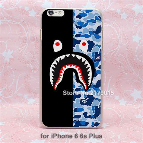 Iphone 6 6s Bape Shark Blue Pattern Black Hardcase bape shark chinaprices net