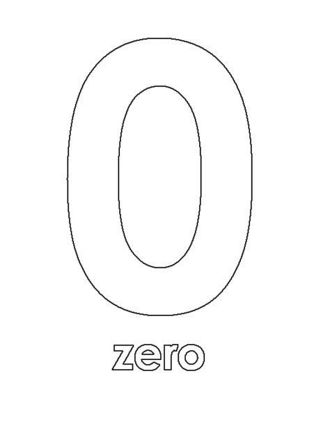 Number 0 Coloring Page by Number Zero Free Coloring Pages