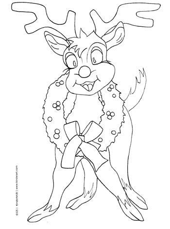 reindeer coloring pages pdf cartoon reindeer with a wreath coloring page printable