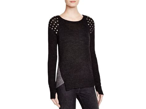 Studded Sweater lyst pam gela studded sweater in black