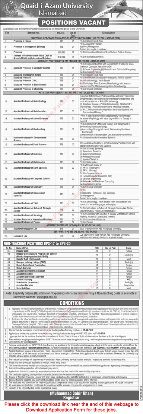 Mba Admission In Quaid E Azam by Quaid E Azam Islamabad 2016 March April
