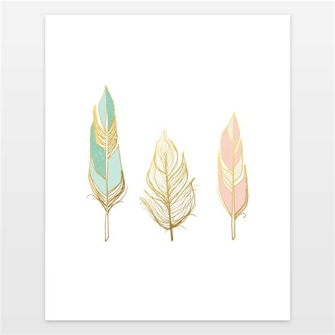 three feathers in blush teal three feathers gold mint blush art print by