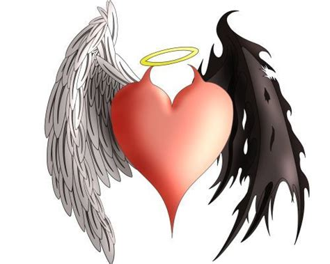 angel devil heart with wings and halo and horns dallas