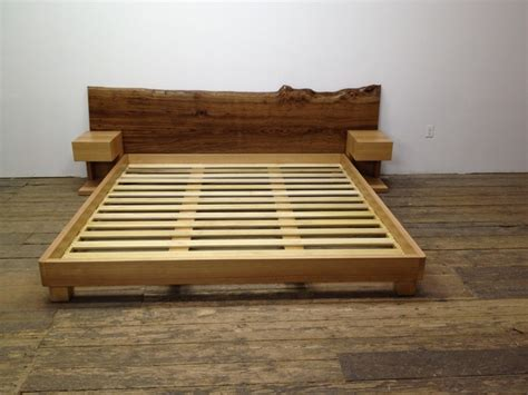 Custom Platform Bed Custom Platform Bed With Stands And Slab Board Contemporary New York By Custom