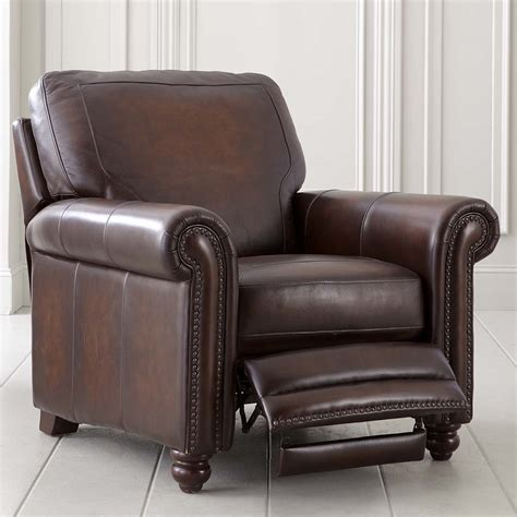 leather chairs recliners hand rubbed brown leather recliner