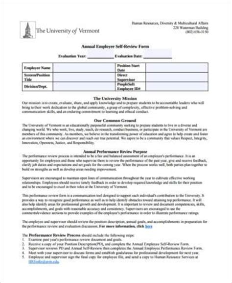 employee self assessment sle employee self assessment forms 7 free documents