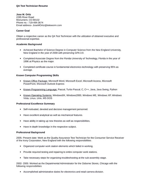 professional test technician resume template