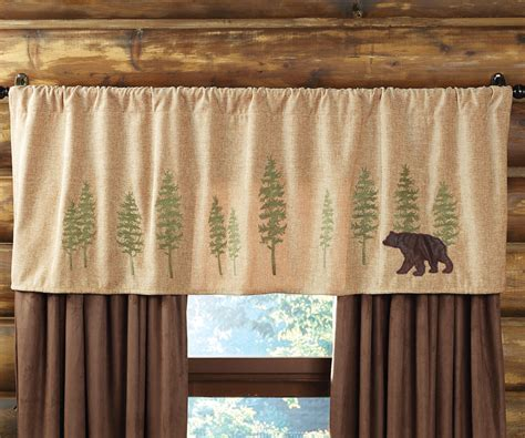 rustic kitchen curtains highlands cabin bear trees rod pocket valance