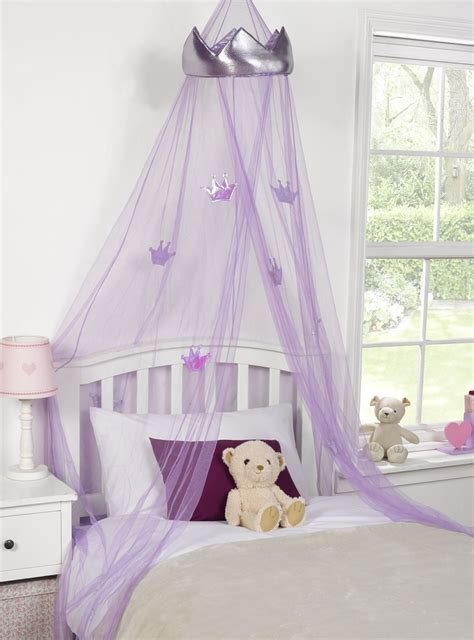 purple bed canopy kids childrens girls princess crown bed canopy insect
