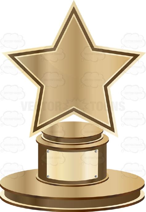 Backyard Sports Characters Bronze Star Trophy On Bronze Base With Blank Gold