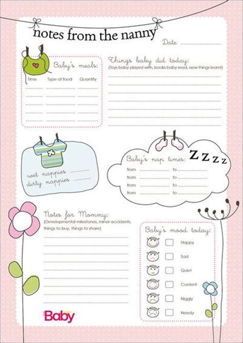 nanny notes template nanny schedule template for baby to the nanny chart as pdf click here baby