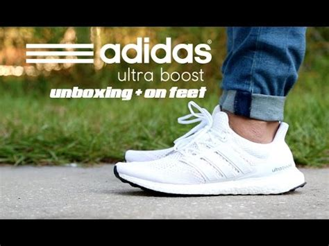 adidas ultra boost white unboxing  feet youtube