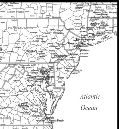 Mid Atlantic Outline Map by Mid Atlantic Region Map Outline Cities To Your Computer
