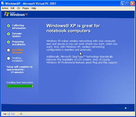 Installing Xp Windows 10 | getting started with virtual pc 2007 part 4 install guest os