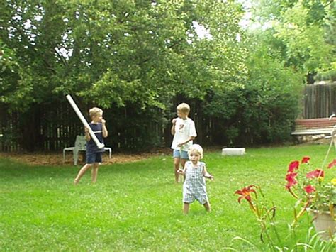 kids playing in backyard a day with grandma