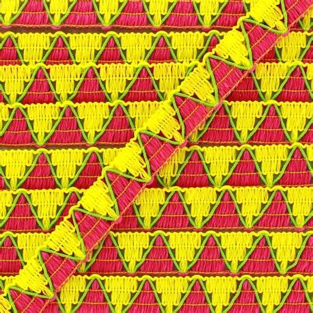 zig zag braid pattern for sew in reversible braid ribbon zigzag yellow pink x 1m ma