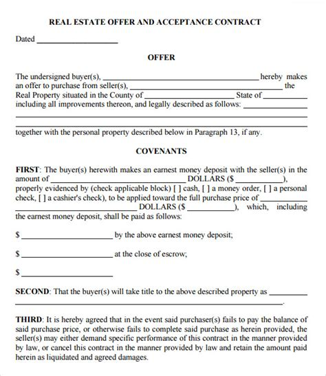 offer to purchase template free 10 sle offer to purchase real estate forms sle