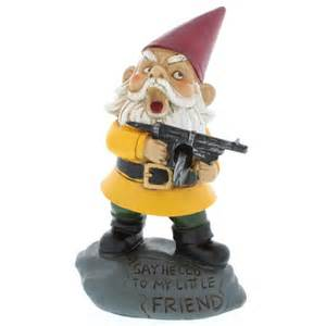 angry little garden gnome lawn statue with machine gun ebay