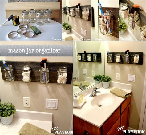 diy bathroom organizer diy mason jar bathroom organizer diy craft projects