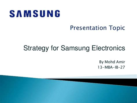 Ppt Topics For Mba Students by Strategy For Samsung