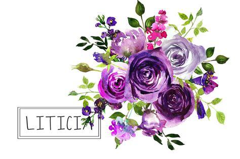 Sprei Fata No 1 Lavender Violet purple flowers watercolor bouquets clipart by